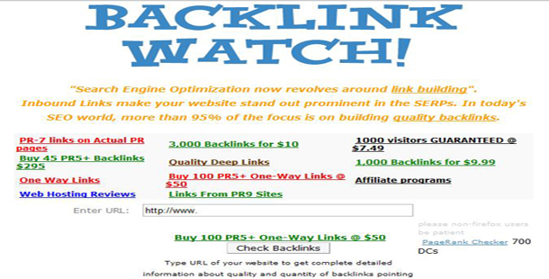 Kiểm tra backlink trực tuyến với Backlink Watch