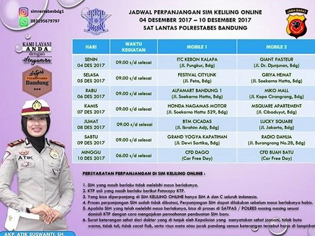 Jadwal SIM Keliling Online Polrestabes Bandung Bulan Desember 2017