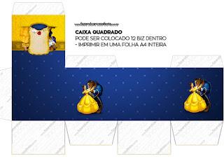 Cajas cubo de Fiesta de La Bella y la Bestia para imprimir gratis.