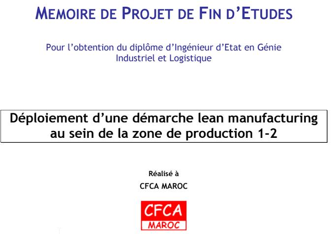 Déploiement d'une démarche lean manufacturing - CFCA MAROC
