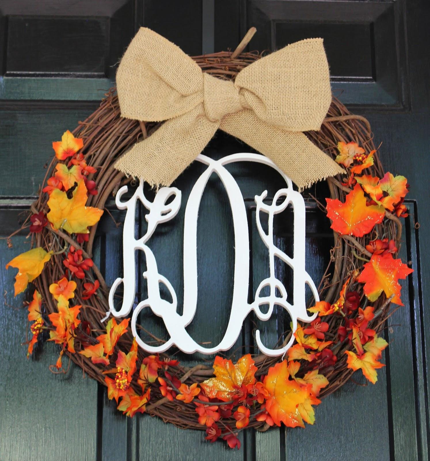 Diy Monogram Fall Wreath: Shop. Teach. Georgia Peach.: DIY Monogrammed Wreath