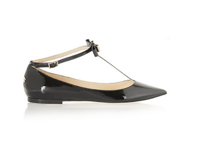 jimmy choo black glaze patent leather pointed toe flats with bow
