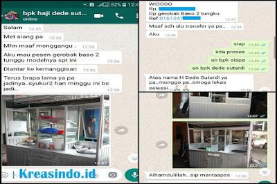 Gerobak Bakso Aluminium Dua Tungku Pesanan Pak Haji Dede Jakarta Barat