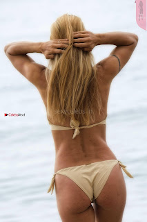 Michelle Hunziker huge Boobs Cleavages Lovely Round Huge Ass in Thong Bikini June 2017