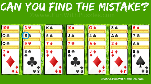 Answer of Mistake Finding Picture Puzzle: Alternation Solitaire