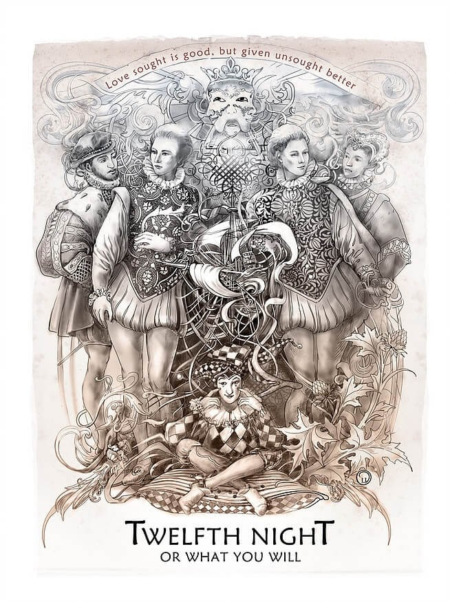 11-Twelfth-Night-or-What-you-will-Irina-Vinnik-Intricate-Drawings-for-a-Shakespeare-Calendar-www-designstack-co