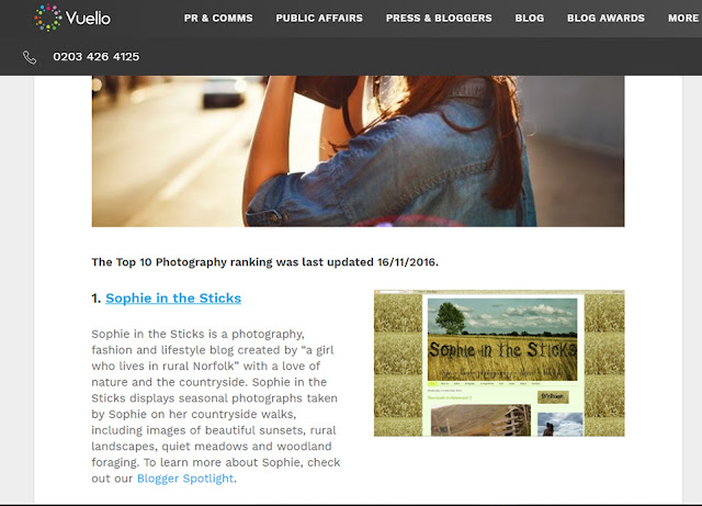 Number one UK photography blog Vuelio rank
