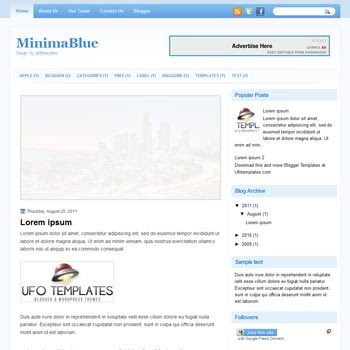 MinimaBlue blogger template. template blogspot magazine style. white color background blogger template