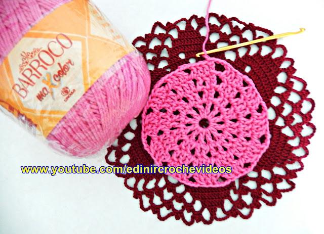 croche canhotos toalha tapete catavento left handed croche curso edinir aprender crochê