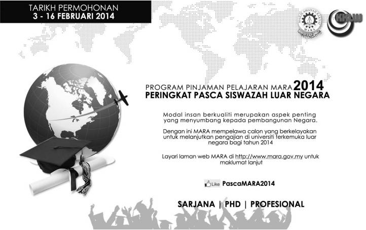 Permohonan Pinjaman Pelajaran MARA Bagi Program Khas Pasca Siswazah Luar Negara 2014