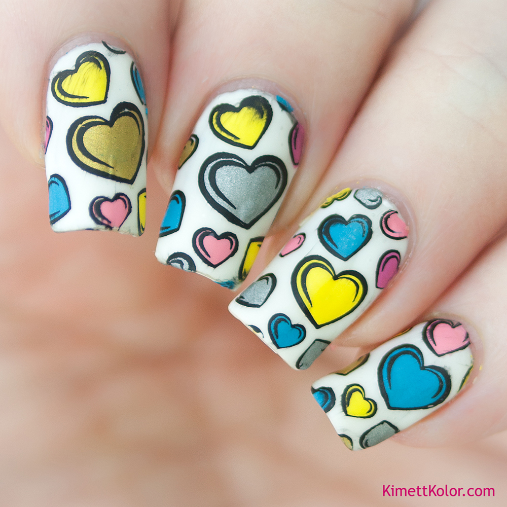 KimettKolor Heart Stamped Decals Over Gel Polish