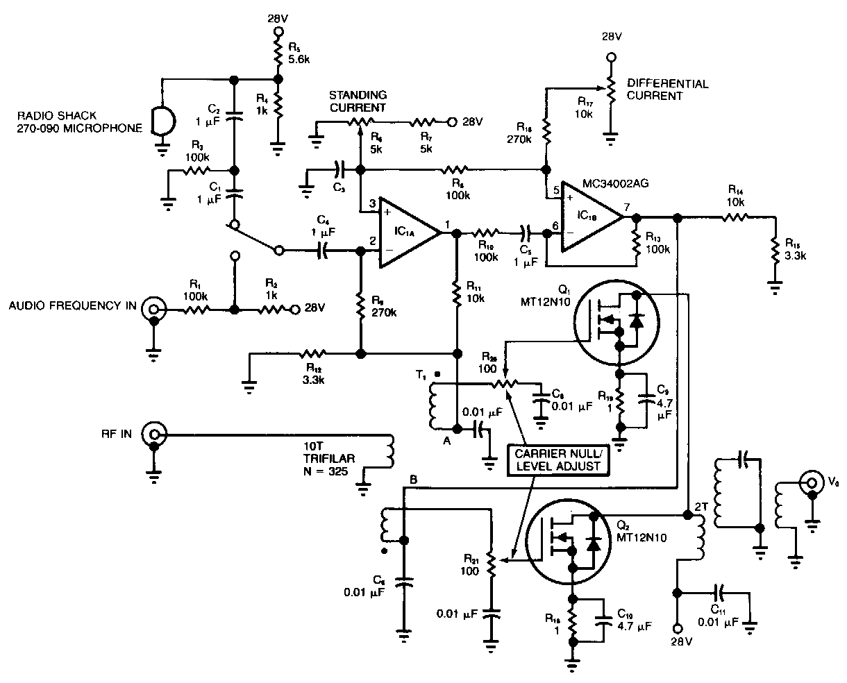 Radio Frequency Amplifier Radio Frequency Modulator Circuit