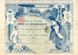 1899 share certificate of the Société de l'Ascenseur de la Terrasse de Saint-Germain-en-Laye