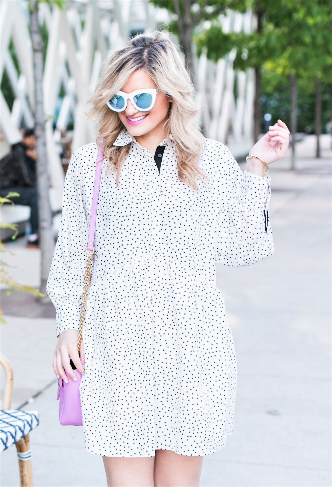Bijuleni - My Go to Casual Everyday Outfit. Shift dress, sparkly silver flats, GG Marmont Maxi