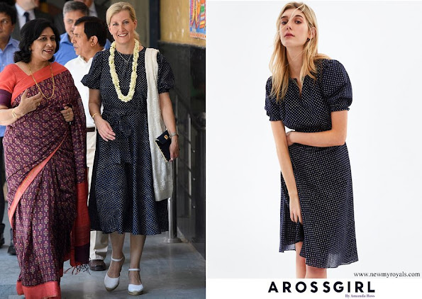Countess Sophie wore ARoss Girl printed dress in cotton polka dot in navy