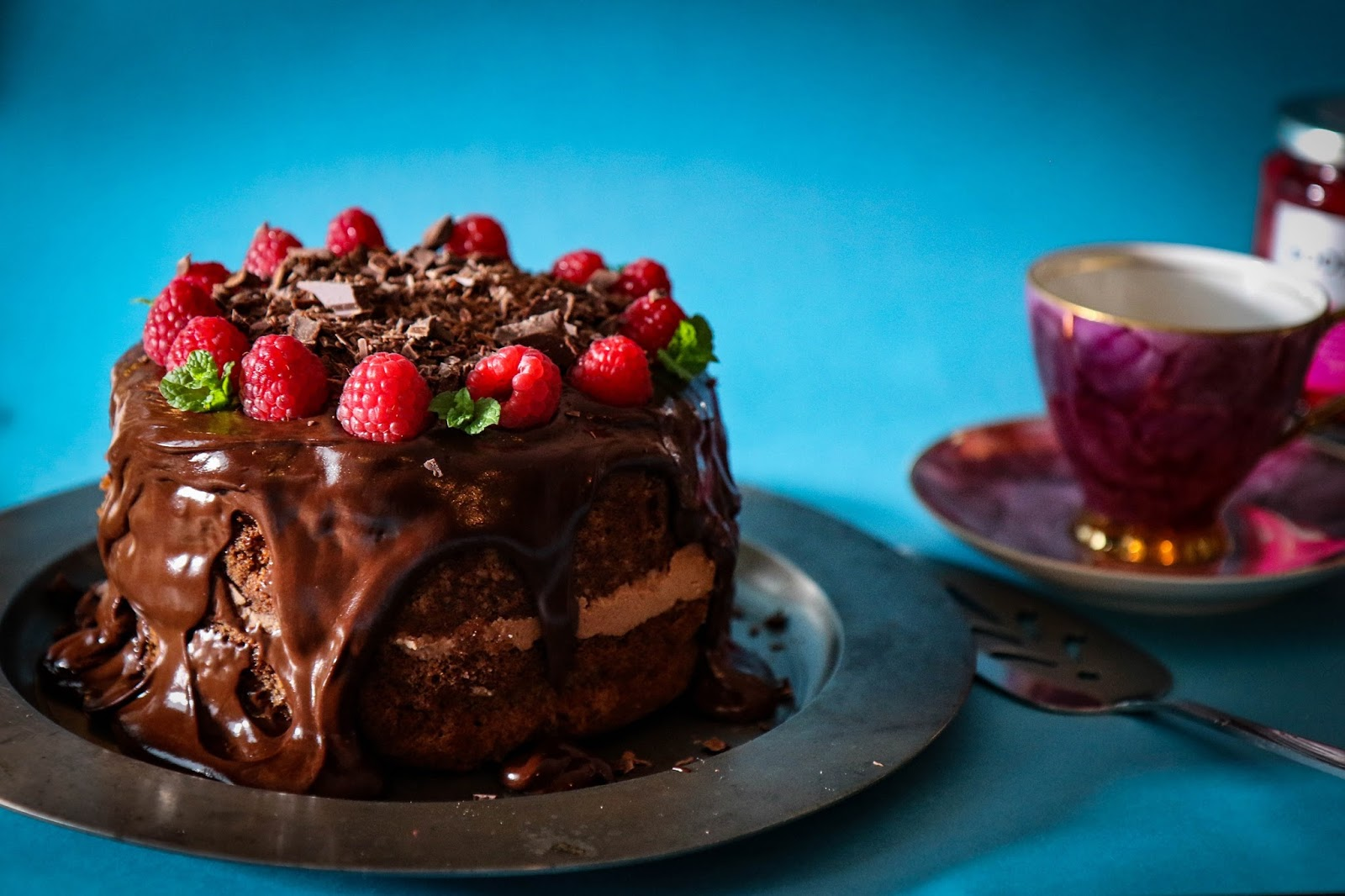 A Berry Boozy Chocolate Cake