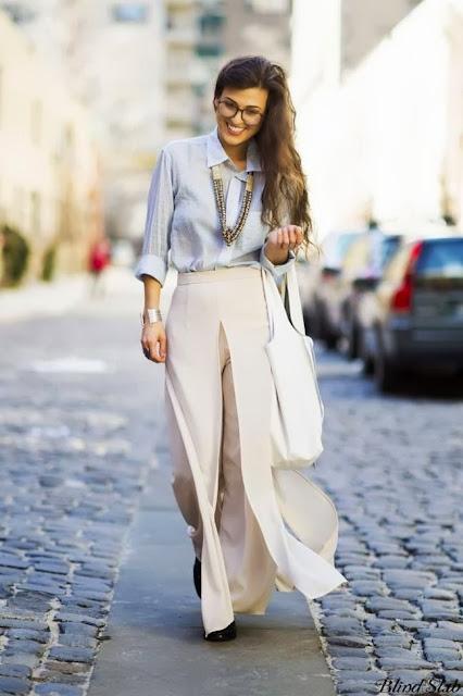 street style: beige loose pants