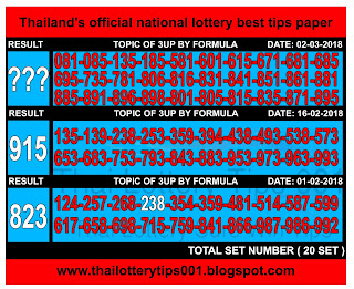 Thai Lottery 3up Sure Digit Formula For 02-03-2018