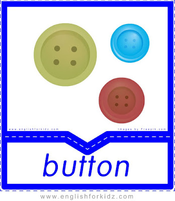 Button - clothes and accessories flashcards to learn English