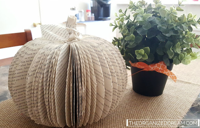 DIY pumpkin made from book pages.