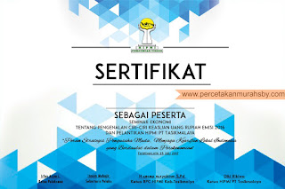 percetakan sertifikat murah yang berlokasi surabaya, menerima jasa pesanan cetak sertifikat baik lokal area surabaya maupun luar kota, sertifikat dapat dikirim melalui berbagai macam ekspedisi