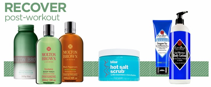 Molton Brown Muscle Soak, Bliss Spa Hot Salt Scrub, Jack Black Recover Balm, Jack Black Moisture Lotion