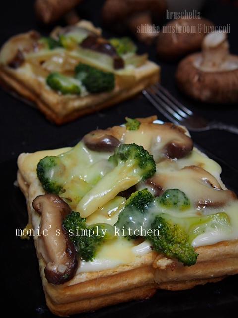 resep broccoli shitake mushroom bruschetta