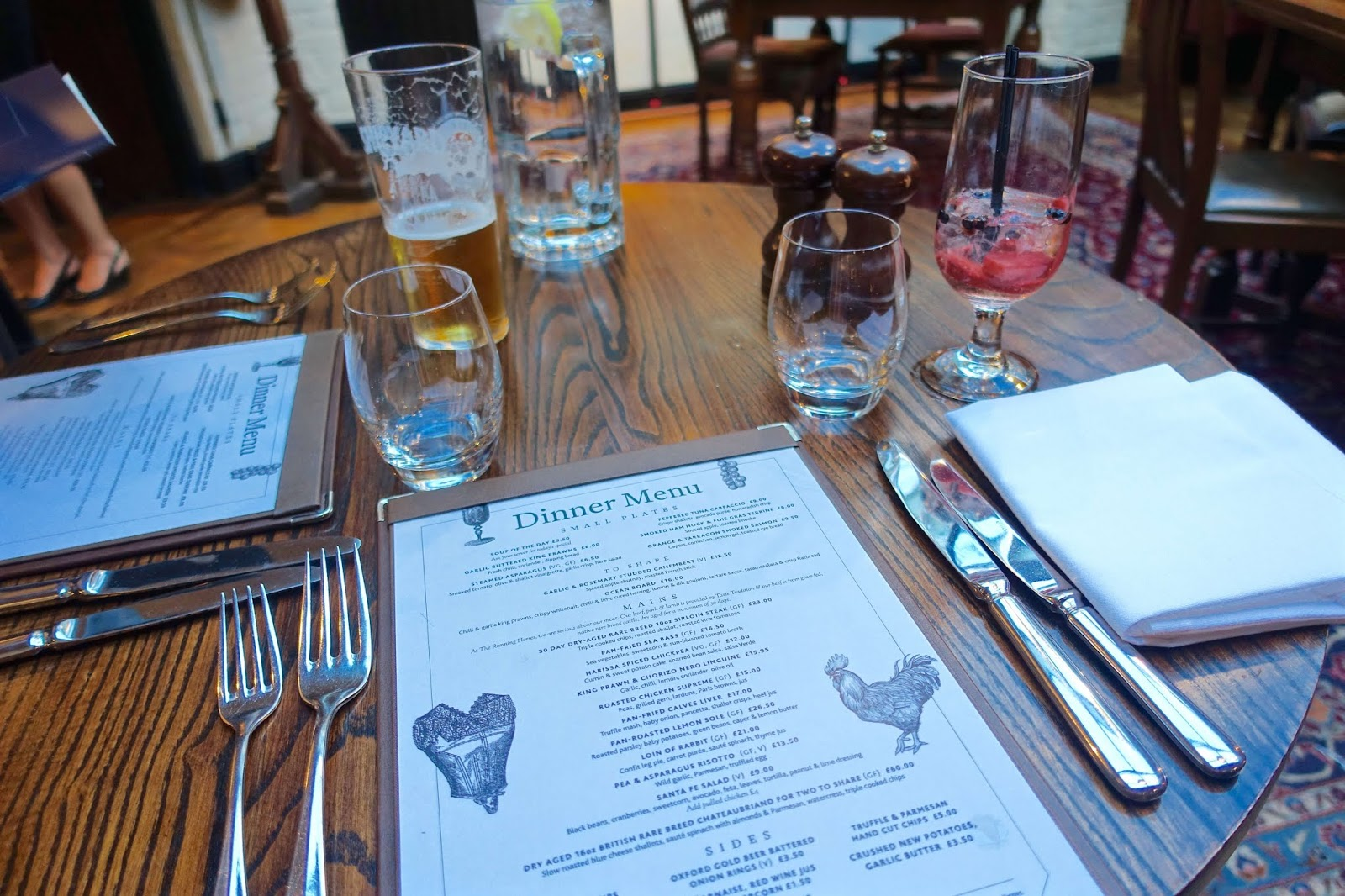 summer dinner menu at running horses in surrey