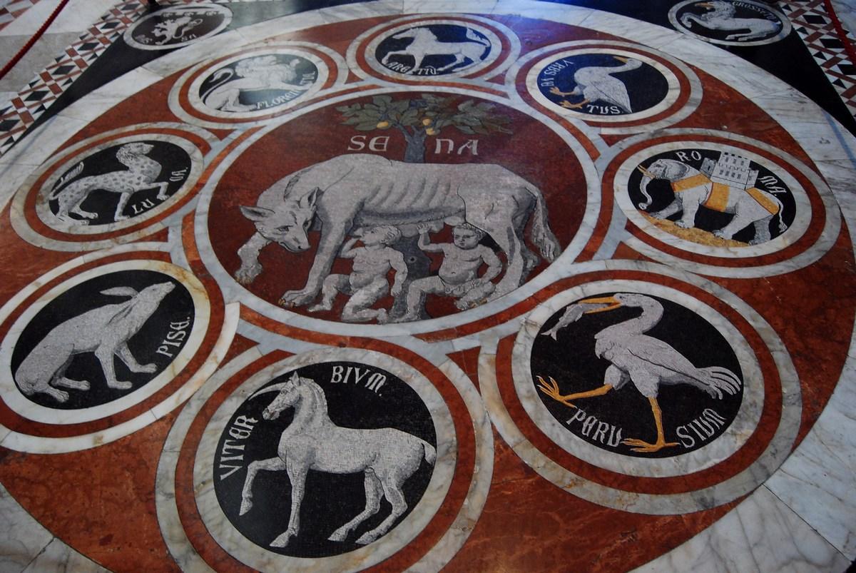 la louve de Sienne et les symboles des villes confédérées remonte à la fin du XIVème siècle