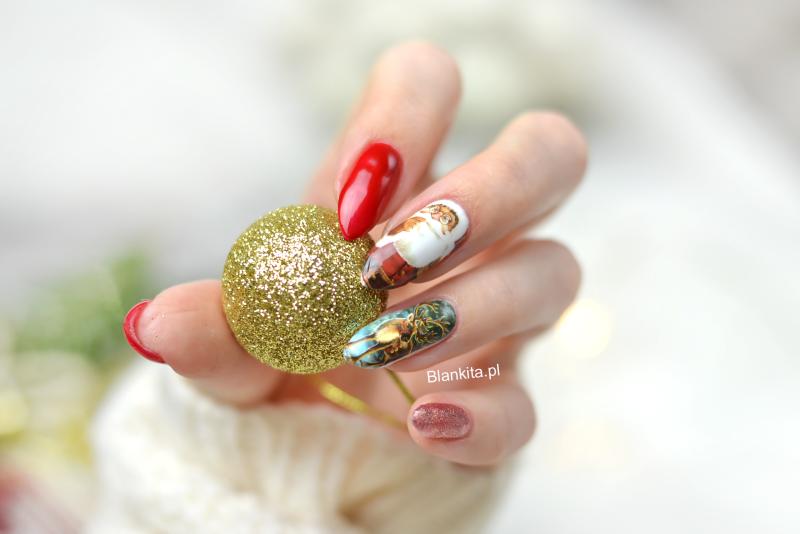 swiateczne paznokcie, paznokcie z mikolajem, renifer na paznokciach, naklejki zimowe, naklejki wodne, naklejki born pretty