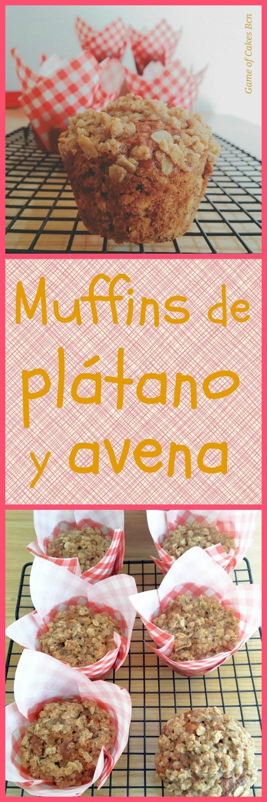Muffins de plátano y avena con streusel de avena. Game Of Cakes Bcn