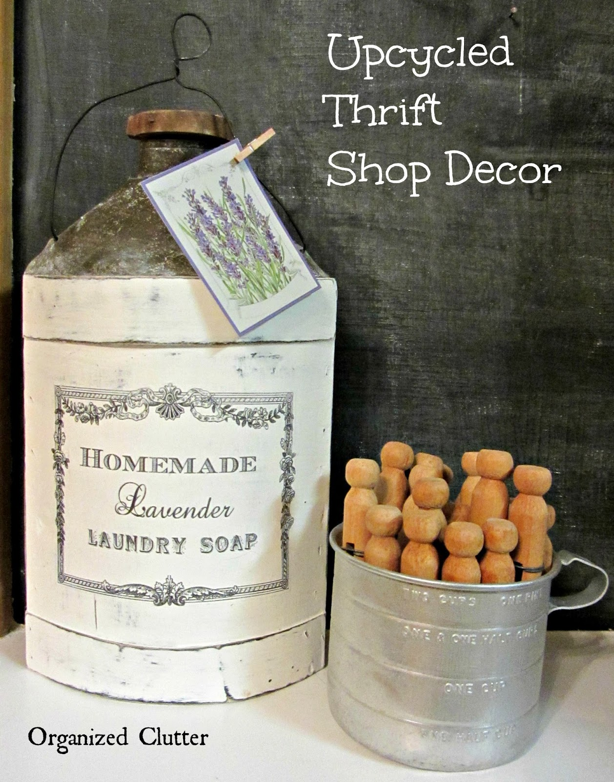 French Upcycle of a Thrift Shop Apple Cider Jug www.organizedclutterqueen.blogspot.com