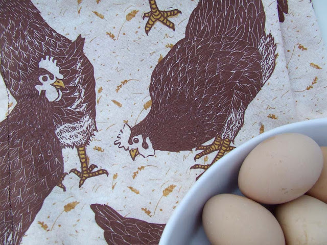 Brown Hen Cotton Fabric