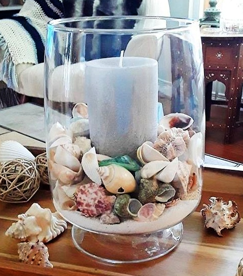 Clear Glass Hurricane Candle Holder Decorating Ideas with Shells