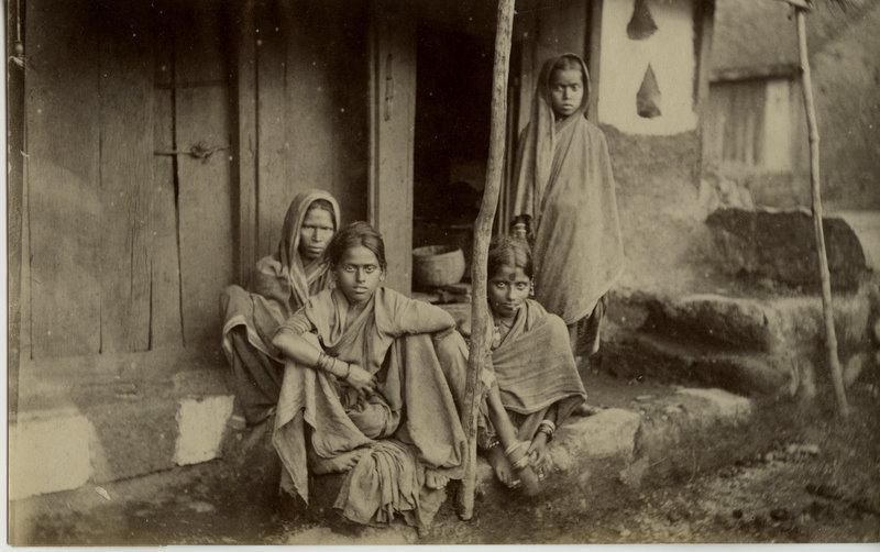 Indian Woman and Girls Outside of a House - 1880's