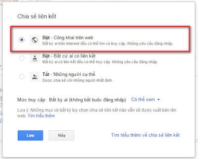 Bật công khai trên web của google docs