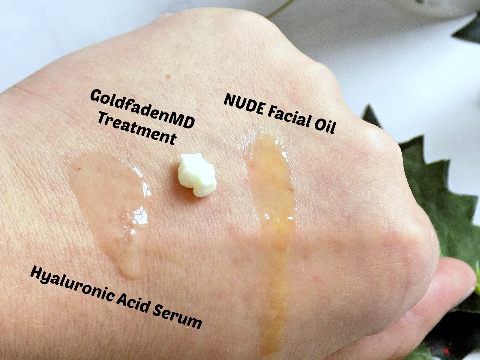 goldfadenMD Wake up Call overnight treatment, the ordinary hyaluronic acid, nude progenius treatment oil