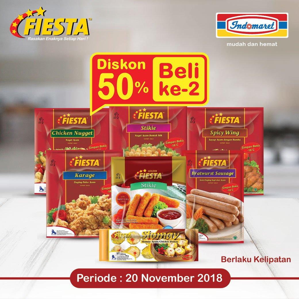 Indomaret - Promo Diskon 50% Pembelian Ke-2 Produk Fiesta ( HARI INI )