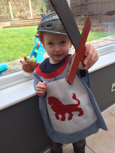 A toddler dressed as a knight!