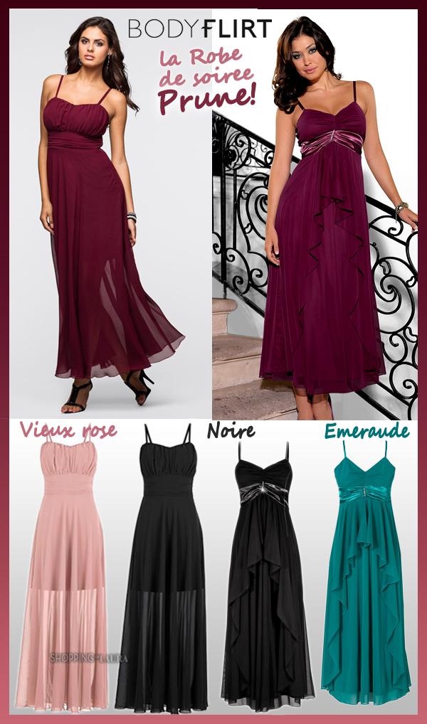 Robe de soirée longue en voile couleur prune BODYFLIRT