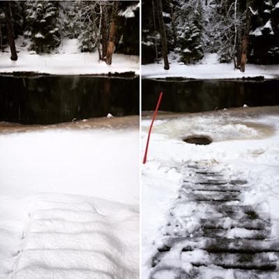 ennen ja jälkeen kuvat avannosta joessa portaat lumessa