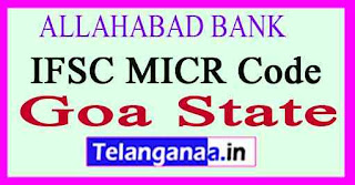 ALLAHABAD BANK IFSC MICR Code Goa State
