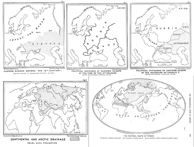 """The Geographical Pivot of History"""" was an article submitted by Halford John Mackinder in 1904 to the Royal Geographical Society that advanced his Heartland Theory"""