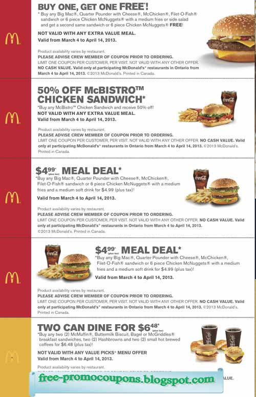 Mcdonalds deals may 2018