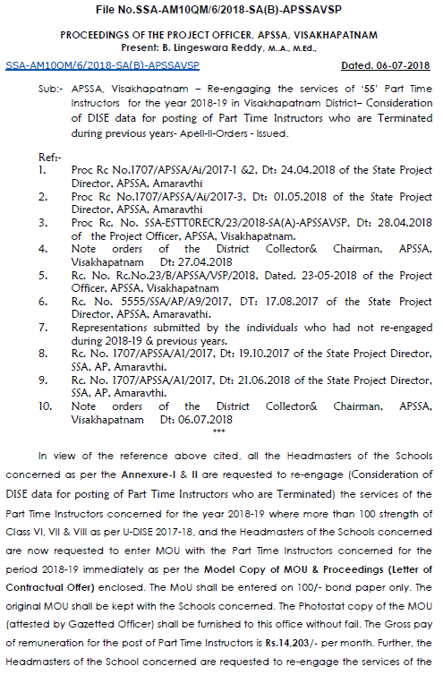 Visakhapatnam District - re- engaged 55 part time instructors who was terminated as per DISE data and List of the Teachers