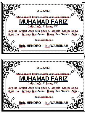 Download Kartu Pemberian Nama Bayi/ Anak Pada Acara Walimatul Tasmiyah Format File Word Bisa Diedit Gratis