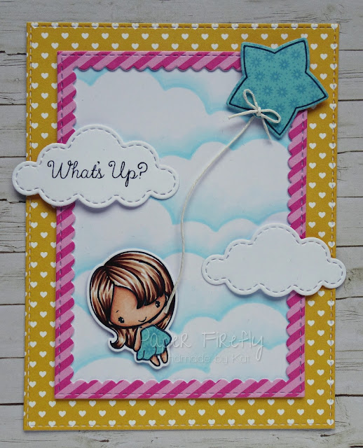 Cute colourful card using Mega mini lift off stamp set from The Greeting Farm
