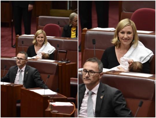 Senator Larissa Waters breastfeeds in parliament in Australian milestone moment
