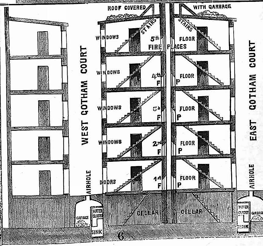 1865 apartment building cross section diagram