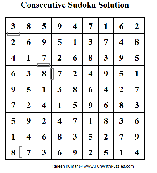 Consecutive Sudoku (Daily Sudoku League #60) Solution
